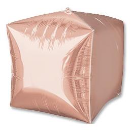 Шар 38 см 3D КУБ Розовое Золото