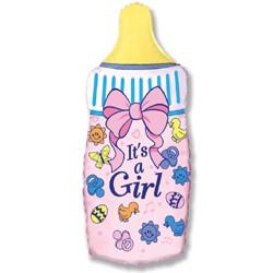 Шар из фольги 81см Бутылочка для девочки, розовый