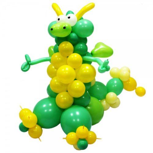 Динозаврик зелено-желтый из воздушных шаров