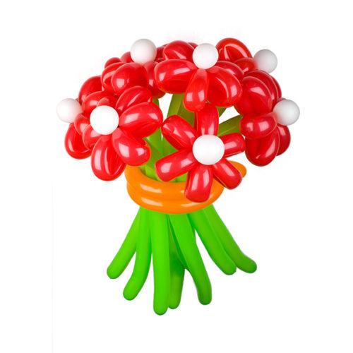 Букет из 7 красных ромашек из воздушных шаров
