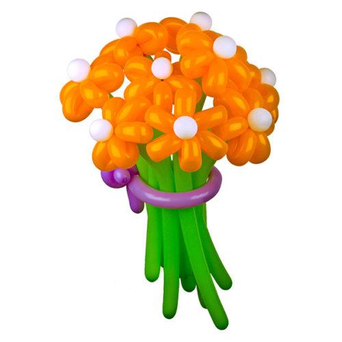 Букет из 9 оранжевых ромашек из воздушных шаров