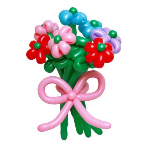 Букет из 7 разноцветных цветов с бантом