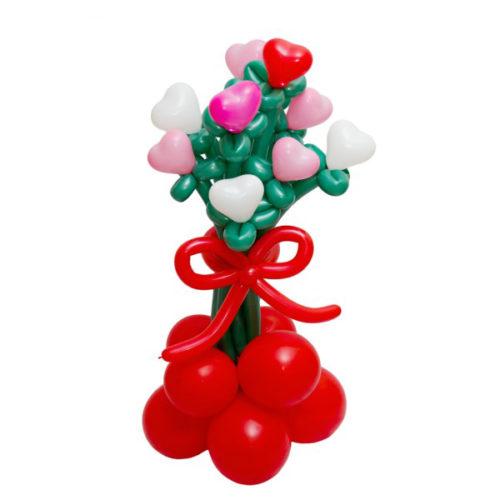 Букет из розовых и красных сердец