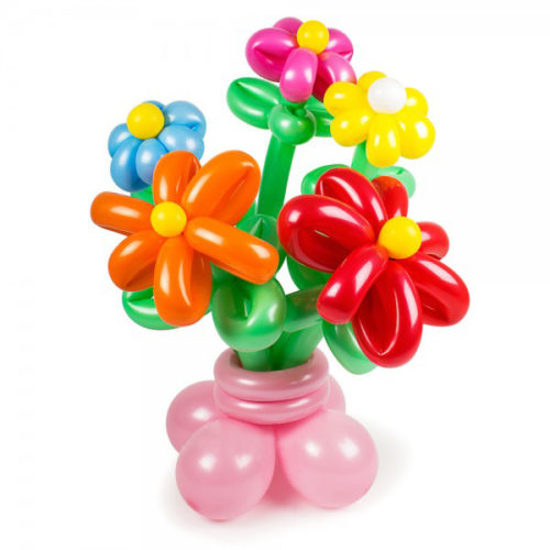 Букет из 5 разноцветных цветов на основании