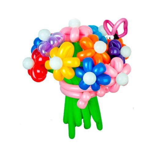 Букет из 11 разноцветных ромашек с мотыльками из воздушных шаров
