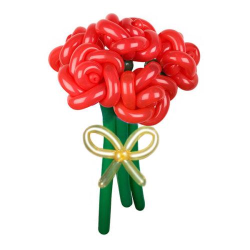 Букет из 5 красных роз с золотой лентой из воздушных шаров