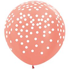 Шар 91 см Белое конфетти Розовое золото Металлик