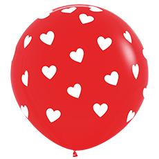 Шар 91 см Классические сердца Красный Пастель
