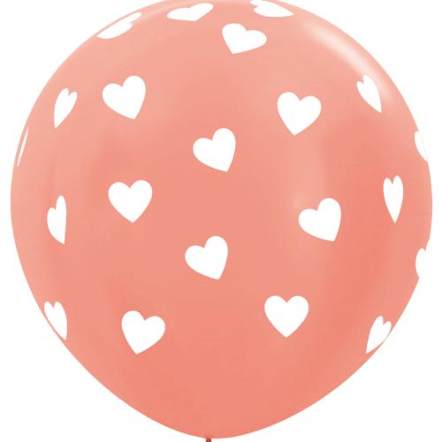 Шар 91 см Классические сердца Розовое золото Металлик
