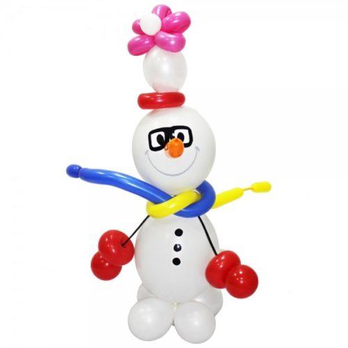 Белый снеговик с очками из воздушных шаров
