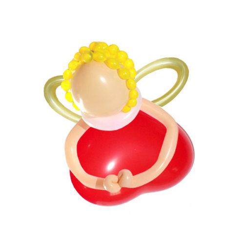 Красный ангел с золотыми крыльями из воздушных шаров