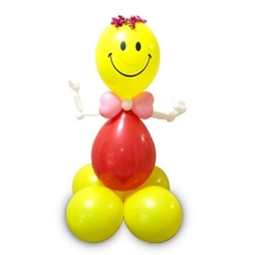 Смайл с розовым бантом из воздушных шаров