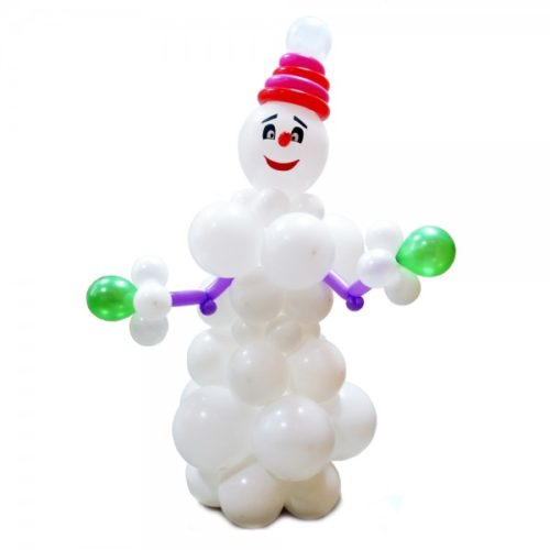 Снеговик в красной шапке из воздушных шаров