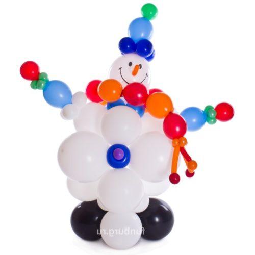 Пузатый снеговик из воздушных шаров