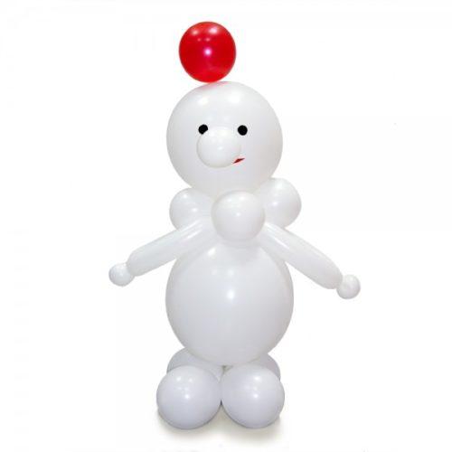 Белый снеговик с красным шаром из воздушных шаров