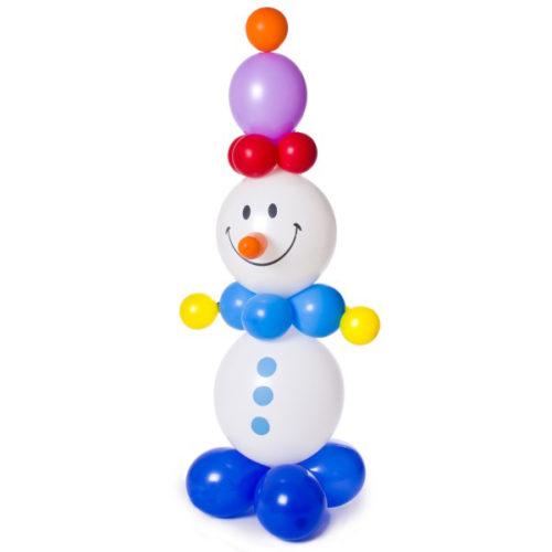 Белый снеговик с фиолетовой шапкой из воздушных шаров