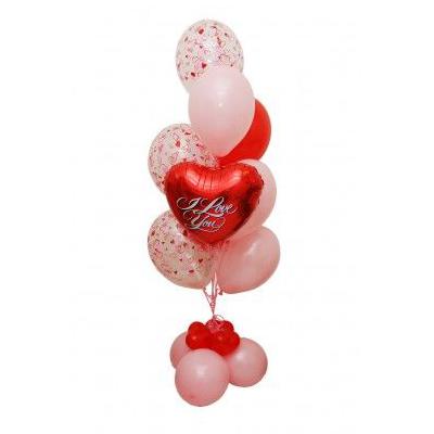 Фонтан с 7 шарами и сердцем из воздушных шаров
