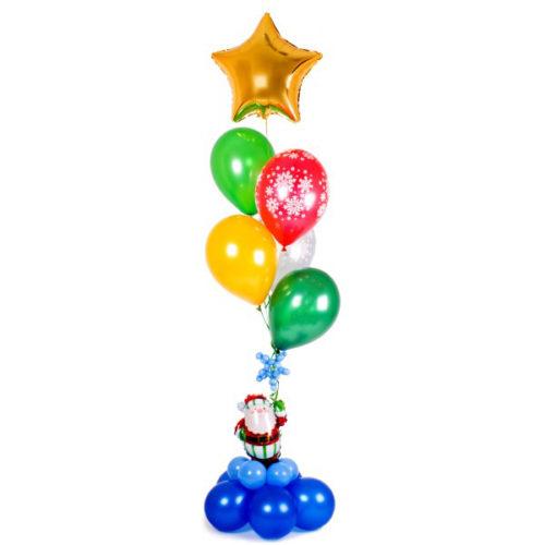 Фонтан с Дедом Морозом из воздушных шаров