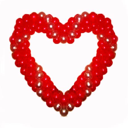 Красно-золотое сердце витое из воздушных шаров