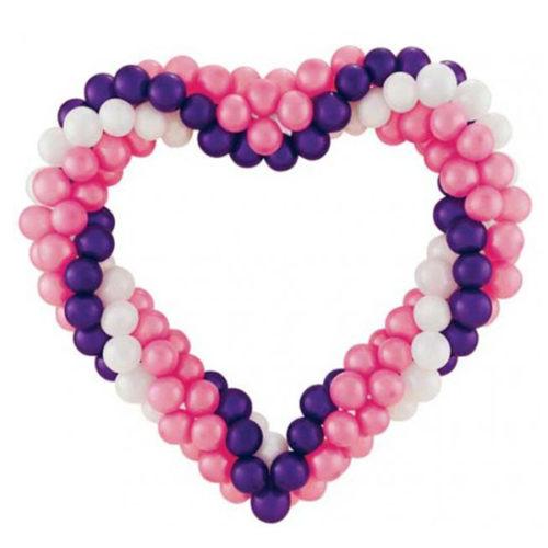 Сердце витое из белых, розовых и фиолетовых воздушных шаров