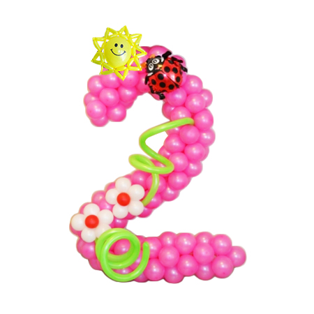 """Цифра """"2"""" из бело-розовых воздушных шаров с цветами и солнышком"""