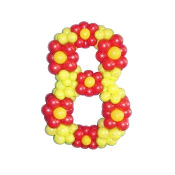 """Цифра """"8"""" из желтых воздушных шаров с цветочками"""