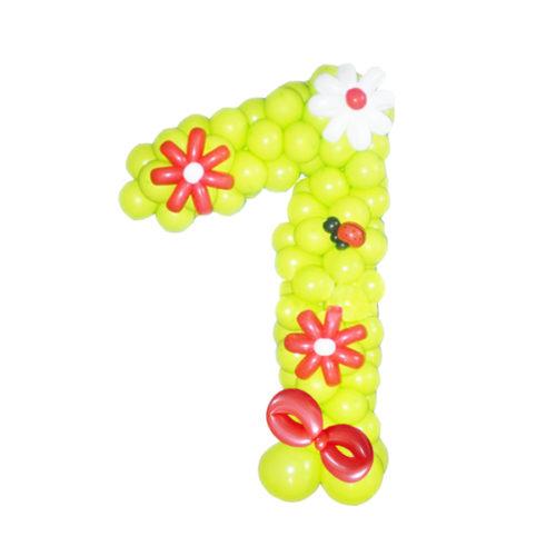 """Цифра """"1"""" желтая с красным бантом из воздушных шаров"""