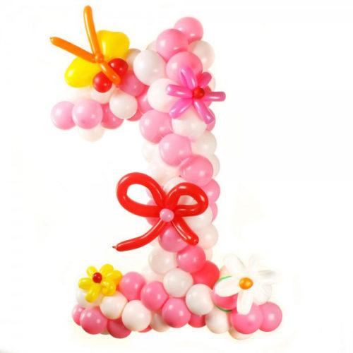 """Цифра """"1"""" бело-розовая с бантиками из воздушных шаров"""