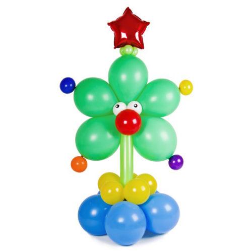 Новогодняя елка - цветочек с шариками и красной звездой из воздушных шаров