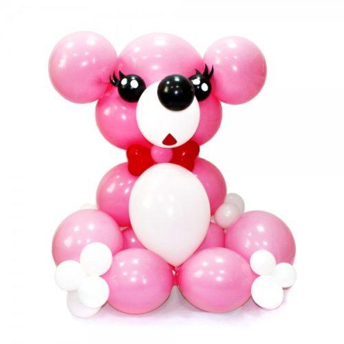 Мишка девочка из розовых и белых воздушных шаров