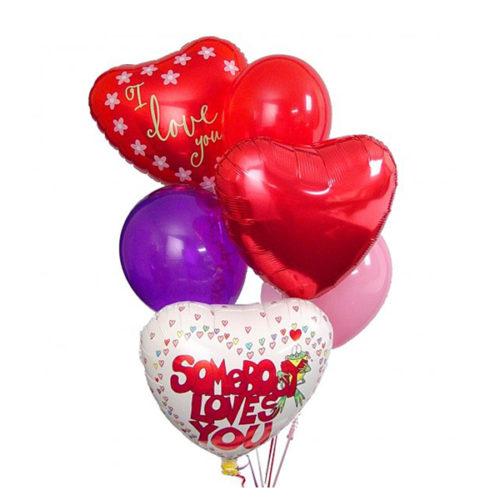 Набор из 3 разноцветных сердец из фольги и 3 латекстных воздушных шаров одного размера