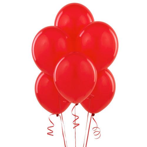 Набор из 5 красных воздушных шаров одного размера