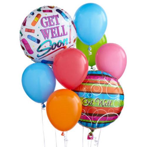 Набор из 2 разноцветных шаров из фольги и 6 латексных воздушных шаров одного размера