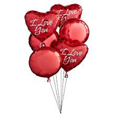 Набор из 3 красных круглых шаров и 3 сердец из фольги