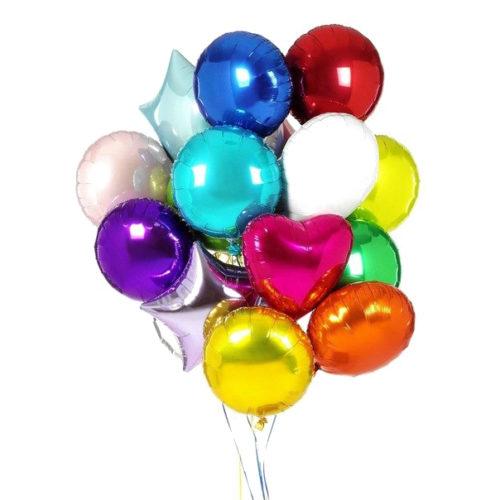 Набор из 15 разноцветных шаров из фольги - круглые, звезды, сердца