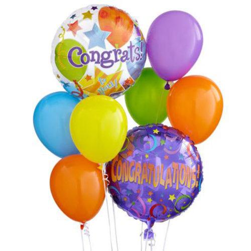 Набор из 2 разноцветных шаров из фольги и 6 латексных круглых воздушных шаров