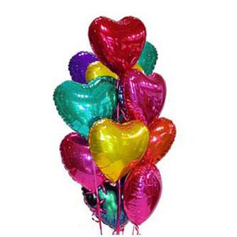 Набор из 11 разноцветных сердец из фольги