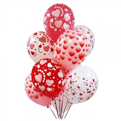 Набор из 9 красных и белых воздушных шаров с рисунком одного размера