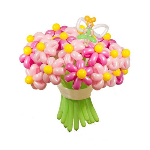 Букет из 21 розовой ромашки с феей из воздушных шаров