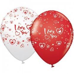 Шар 30 см I love you (сердца), БелыйКрасный, Ассорти, пастель