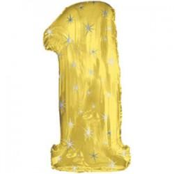 Шар 107 см Цифра 1 Золото
