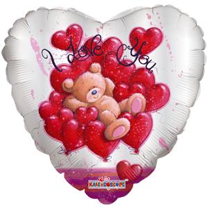Шар 46 см Сердце Медвежонок в сердечках односторонний