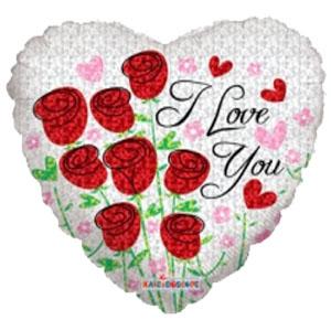 Шар 46 см Сердце Розы красные