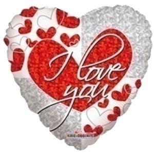 Шар 46 см Сердце Я тебя люблю голографическое