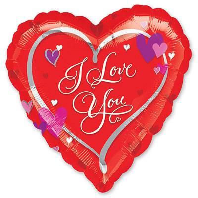 Шар 46 см Сердце с сердечками