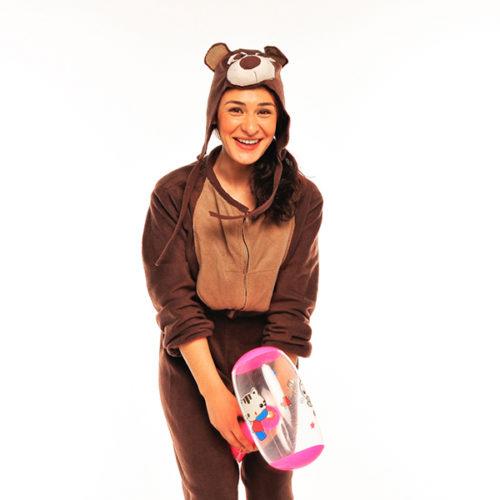 Живая открытка - поздравление от бурого медведя с шарами