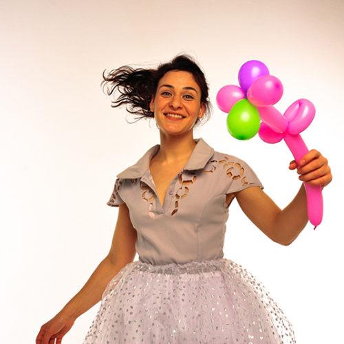 Живая открытка - Поздравление от принцессы с шарами