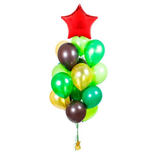 Фонтан хаки со звездой из воздушных шаров