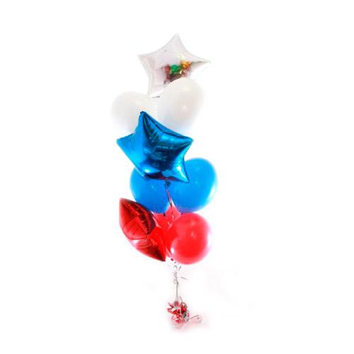 Фонтан триколор со звездами и круглыми воздушными шарами