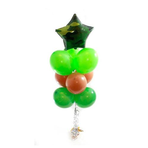 Фонтан зелено-коричневый со звездой и круглыми воздушными шарами
